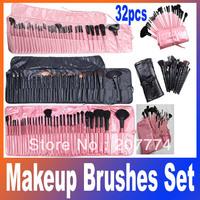 Professional 32pcs 32 pcs Cosmetic Facial Make up Brush Kit Makeup Brushes Tools Set + Leather Case,Free Shipping