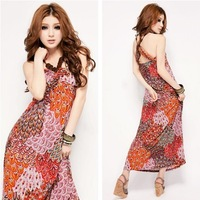 New arrive flower design Ladies Multicolor Chiffon Maxi Dress dress Free shipping