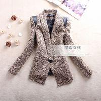 2012 women's spring outerwear patchwork fashion vintage leopard print medium-long slim blazer