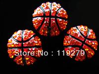Balls Season! 20pcs bling basketballs slide charms fit 8mm belt/wristband/pet collar