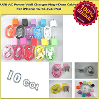 10x Colorful USB Charger Plug+Data Cable For iPhone 4G 4S 3GS iPod SCA-0744