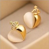 Fashion unique Opal stone moonlight stud earrings 18k gold pated heart earring women jewelry accessory wholesale Free shipping