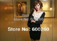 Free shipping fashion women's dress new arrival lace collar long t-shirt slim sexy black  wholesale apparel#5329