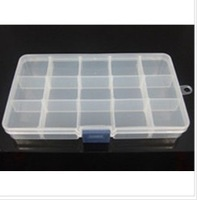 Adjustable 15 Compartment Plastic Storage Box Jewelry Earring Tool Container