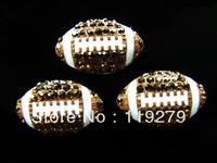 Balls Season! 20pcs Rhinestone Football slide charms fit 8mm belt/wristband/pet collar