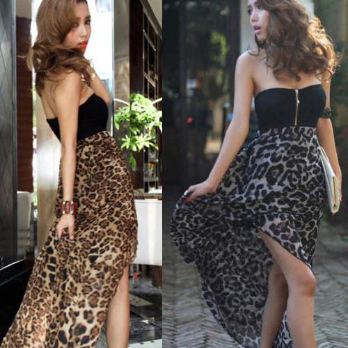 New Women Sexy Chiffon Bustier Party Maxi Dress Leopard Pattern Free Shipping Colors Option(China (Mainland))