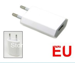 10pc/lot EU Plug USB Power Home Wall Charger Adapter for Pod Phone 3G 3GS 4G 4S Brand New(Hong Kong)