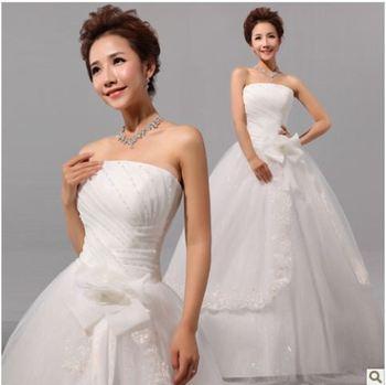 211 vestido de noiva 2014   elegant fashionable sexy beading appliques tiered lace up wedding dress   bride bridal gown dresses