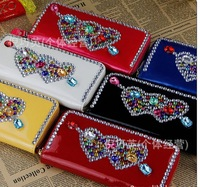 Free shipping 2013 New Style Fashion love hot drill Women Wallet classic Purse long design