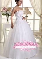 220 vestido de noiva 2014   fashionable sexy bow draped beadings a line strapless wedding dress   bride bridal gown dresses