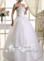 219 vestido de noiva 2014   elegant fashionable sexy heavy beadings a line strapless wedding dress   bride bridal gown dresses