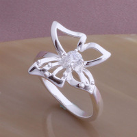 CZ butterfly shining anniversary ring in 925 sterling silver - women's jewelry