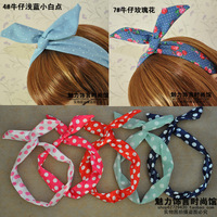 Free shipping Magical silk scarf denim rabbit ears hair band jewelry