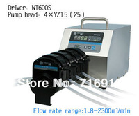 WT600S Led digital display High Flow Precise variable speed peristaltic pump for water pumps fluid  / 4 X YZ25 Pump head