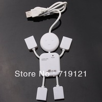 Free Shipping Wholesale 3pcs /lot 4 Port USB High Speed Doll/Humanoid Design Hub For Computer PC Laptop  740012