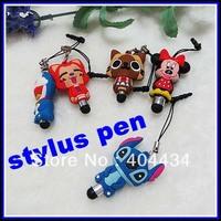 stylus touch pen cute cartoon design phone pendant with 3.5mm headphone dust  plug 200pcs/lot ceative phone stylus