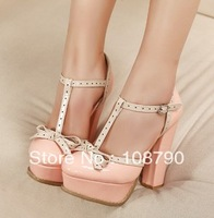 2013 summer closed toe platform high heels bowtie pumps thick heel patent leather t-strap shoes women pink free shipping