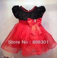 Latest girls dress black the upper + red dress baby dress 2014 children's clothes children dress