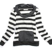 free shipping 2013 stripe heap turtleneck long-sleeve casual all-match sweatshirt Women