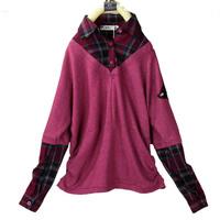 free shipping Casual faux two piece plaid shirt turn-down collar 100% cotton long-sleeve top casual women's