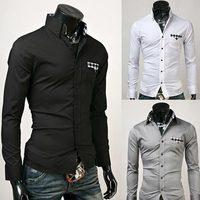 Wholesale Fashion Men Plaid Patch Slim Men Shirts Free Shipping Dropship