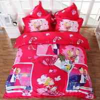 Free shipping Fashion personalized home textile wedding six pieces set bedding