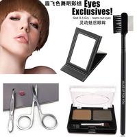 Bundle make-up eyebrow scissors clip steel comb mirror