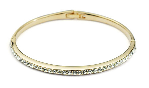 SGLOVE - STUNNING! GOLD PLATED DEIGNER STYLE ANNIVERSARY WEDDING LAB DIAMOND BRACELET BANGLE + FREE SHIPPING(China (Mainland))