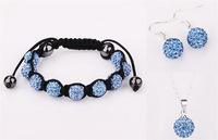 Large Discount Jewelry!Free Shipping!10mm Micro Pave Disco Ball Shamballa Set.Bracelets+Earring+Necklace For Women HHB Hotsale.