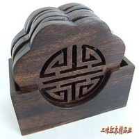 Mahogany coasters wenge lotus circle coasters vietnam mahogany crafts wooden tableware gasket