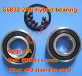 15mm 15x24x5mm 61802-2RS 61802RS 6802 61802 Si3N4 Silicon Nitride ceramic stainless steel hybrid deep groove ball bearing