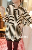 2013 new spring summer autumn fashion Chiffon slim fit long sleeves ol tops Shirts Blouse for women lady