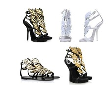 2013 women wedges white Design gold leaf embellished high heel pumps wings ankle strap sandal bootie(China (Mainland))