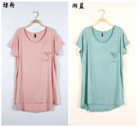 Women's new arrival 2013 pocket spring and summer regular style t-shirt low-high short-sleeve t T-shirt female