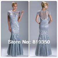 Free Shipping Hot Quality Cap Sleeves Floral Lace Evening dress Mother of the Bride Dresses With Sleeves 2013 CH2152