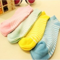 Min Order $10(mixed order) Free Shipping ! Wholesale Women's  Candy Color Dot / Solid /Striped Cotton Socks