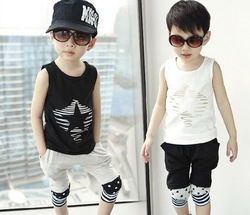 2013 Children's clothing boys set child boys summer clothes set child handsome faux two piece t-shirt vest plaid school clothes(China (Mainland))