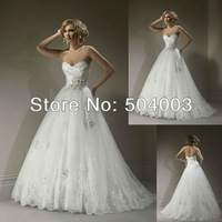 Free Shipping Best Selling 100% Guarantee Lace Beaded Ball Gown Wedding Dress Wholesale/Retail