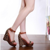 2013 sandals wedges horsehair leopard print women's high-heeled platform shoes