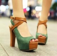 2014 summer fashion platform sexy sandals high-heeled shoes platform color block female shoes