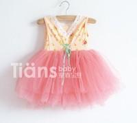 Wholesale - 5pcs/lot new girl's Floral Cotton 6 layer yarn super beautiful princess vest dress children's clothes Y AUG3