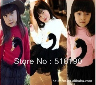 Free Shipping Girl Dress with 3 color long sleeve Swan Peng peng one-piece children spring attumn wesr.