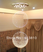 D700 H1190MM LARGE TWO BALL VERTICAL DESIGN TOP  K9 CRYSTAL LED CHANDELIER THICK BASE OF STAINLESS STEEL+IRON CUSTOMERIZING