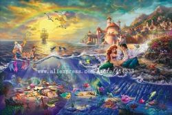 Thomas Kinkade prints Original oil painting The Little Mermaid reproduction on canvas office Home decor modern wall painting(China (Mainland))