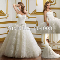 Free Shipping Hot Selling Elegant Organza Ball Gown Wedding Dress Wholesale/Retail Custom Size/Color