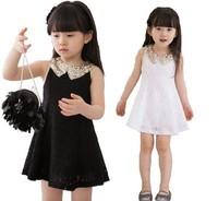 5 PCS 2013 new style summer girls lace dress baby dresses flower lace kids paillette neckline sundress  sweet girl wholesale