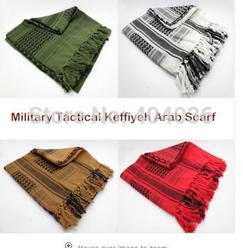 Fashion Drab Shemagh Military Tactical Keffiyeh Arab Scarf 100% Cotton Wrap NWT