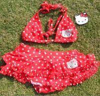 1set hello kitty swimwear kids beachwear baby bikini girls cartoon swimsuit girl's beachwear