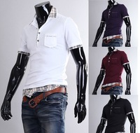 Free shipping the new plaid mixed colors Men Slim short sleeve POLO shirt