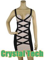 2013 new arrival women's 'Camille' Black & Blush Corset HL Bandage Dress Kim Kardashian evening dresses dropshipping